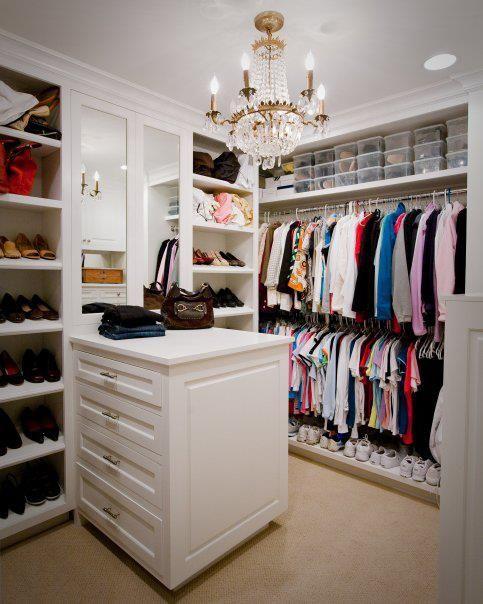 Kathleen DiPaolo Designs - closets - white closet, walk-in closet, walk-in wardrobe, closet built-ins, closet storage, closet island, built-...