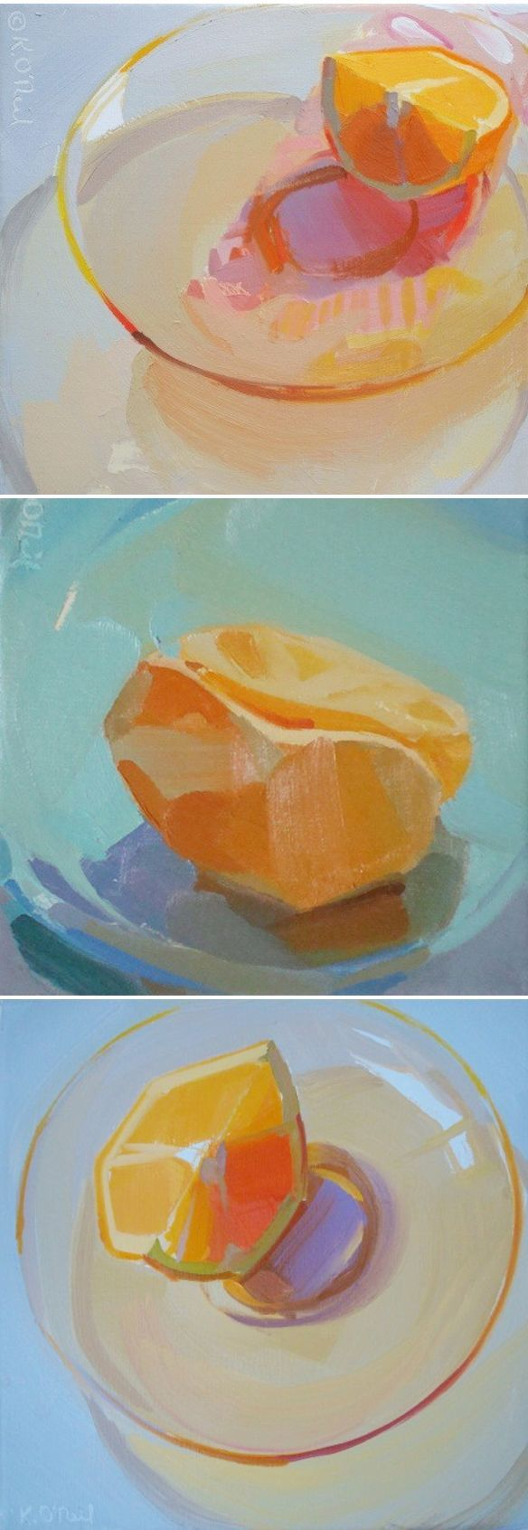 """Ah, nothing says """"Happy Monday morning"""" quite like a bunch of fresh 'n juicy oranges! Mmmm, now I want an orange AND one of these paintings by Woodstock, New York based artist/educator Karen O'Neil. I"""