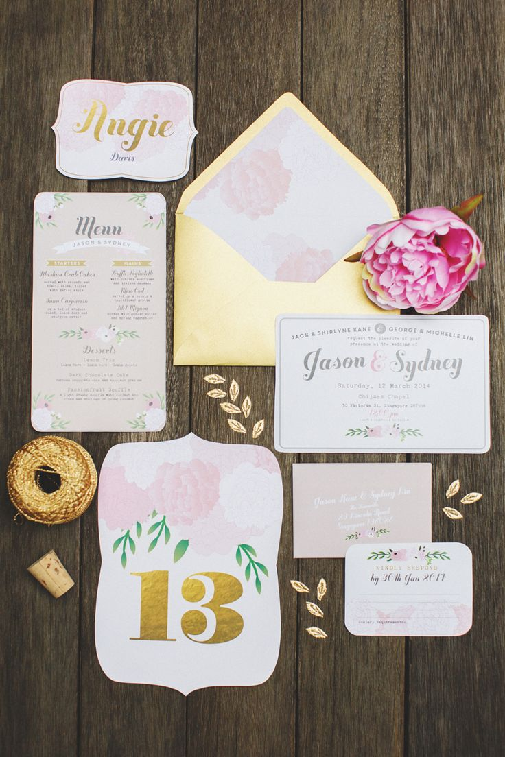Pink and gold wedding stationery suite