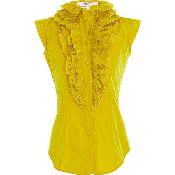 L'Wren Scott Ruffle Blouse - Chartreuse size 46 (£735) ❤ liked on Polyvore featuring tops, blouses, shirts, blusas, clothing & accessories, women, yellow ruffle blouse, ruffle blouses, frilly blouse and ruffle collar shirt