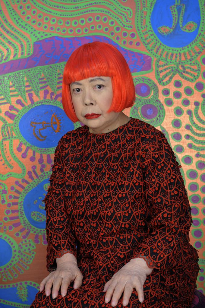 """Yayoi Kusama Born 1929 in Matsumoto City, Japan. Lives and works in Tokyo, Japan. """"My artwork is an expression of my life, particularly of my mental disease... My art originates from hallucinations only I can see. I translate the hallucinations and obsessional images that plague me into sculptures and paintings."""""""