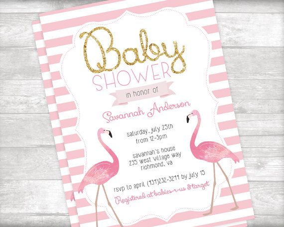 best  flamingo baby shower ideas on   tropical party, Baby shower invitation