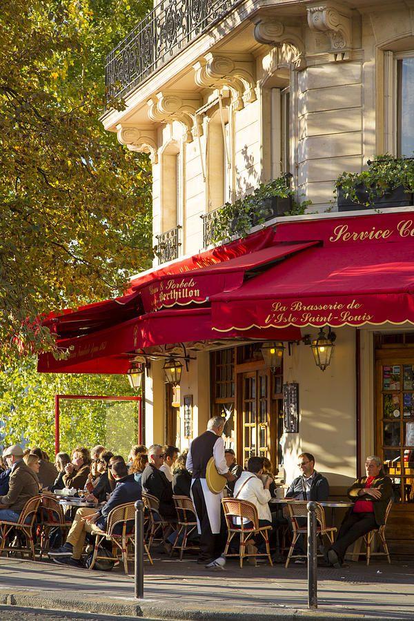 Evening Cafe - Paris Photograph by Brian Jannsen   Late afternoon sunlight on La Brasserie de Ile Saint-Louis Cafe, Ile Saint-Louis, Paris, France