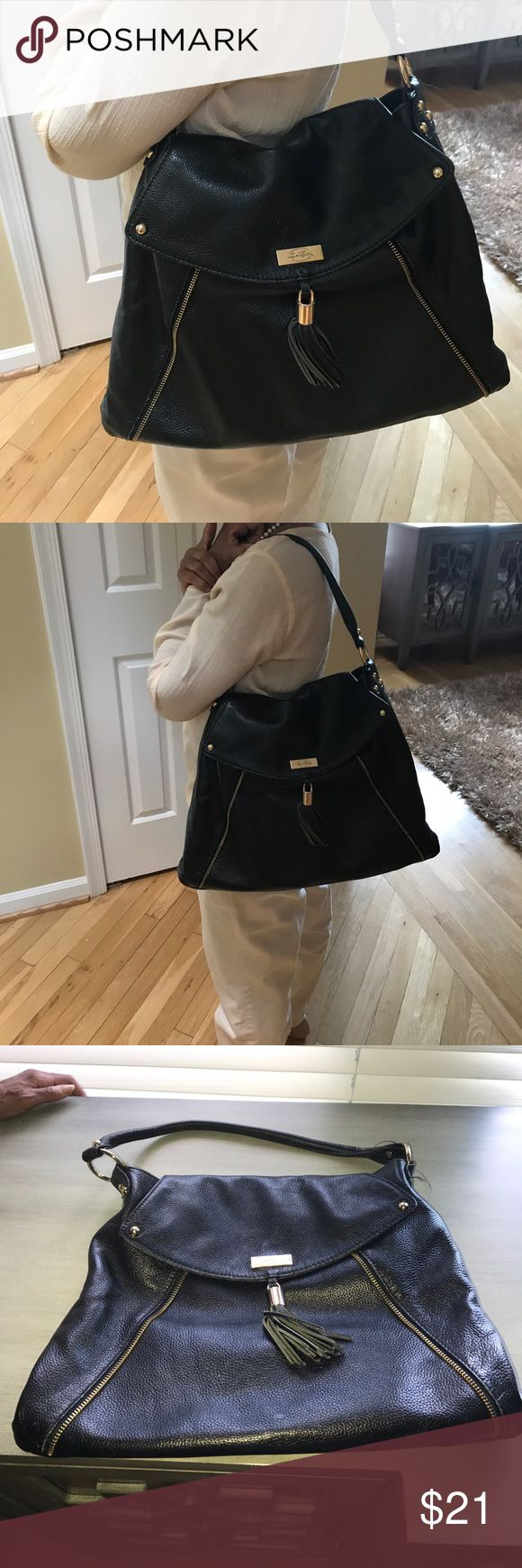 Black letter bag by Onna Ehrlich Beautiful soft black letter bag w gold trim and black tassel. Only signs of wear are shown in picture 4. Bags Shoulder Bags