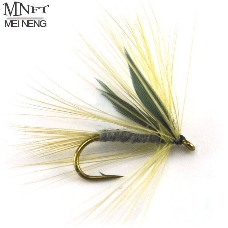 10# Grey Colour Winged Dry Mayfly Trout Fly Fishing Lures Baits BLUE UPRIGHT Artificial Bait Lure