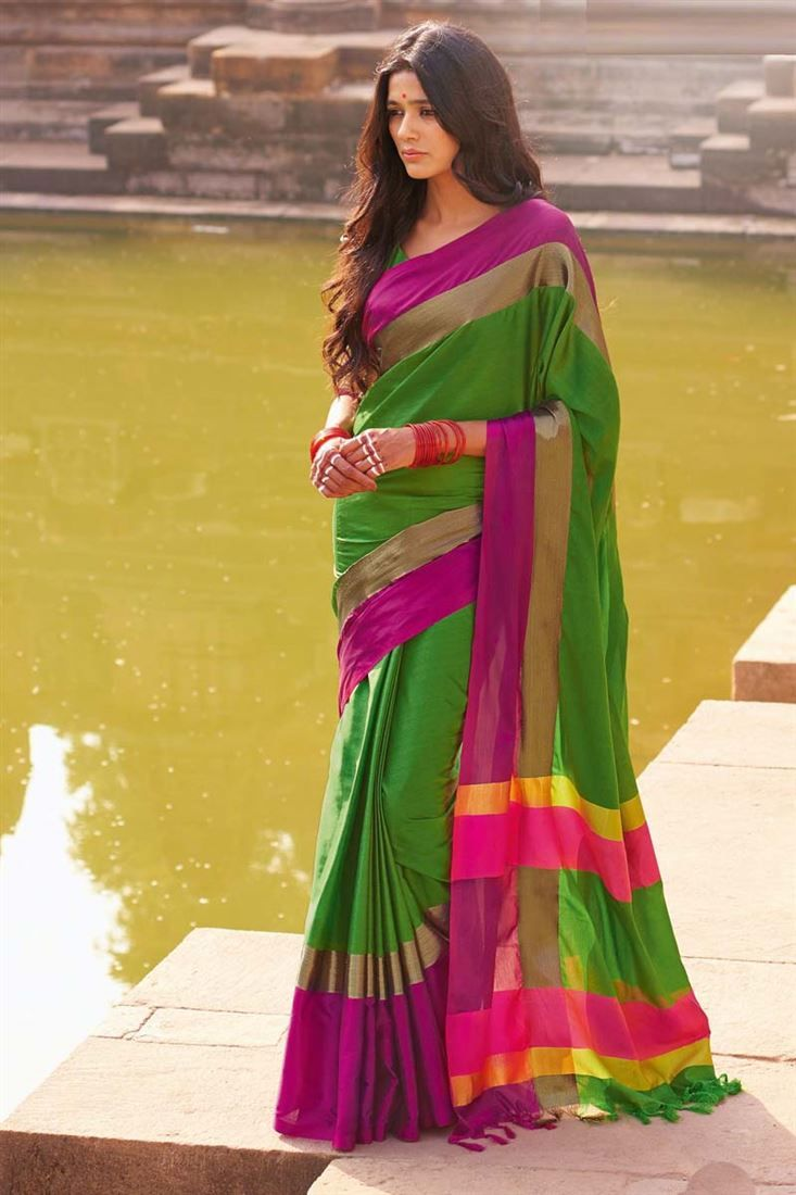 Online Shopping of Casual Printed Green-Purple Cotton Saree-Aangi from SareesBazaar, leading online ethnic clothing store  offering  latest collection of sarees, salwar suits, lehengas & kurtis