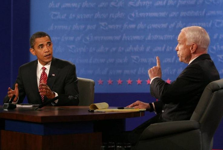 Obama vs McCain | The Presidential debate, which is televised across the country, takes place usually at a university with a large audience of over 1,500 people. Seen in the picture are Republican candidate John McCain (R) and Democrat Barack Obama (L) during their third and final presidential debate in 2008. (Photo: Reuters)