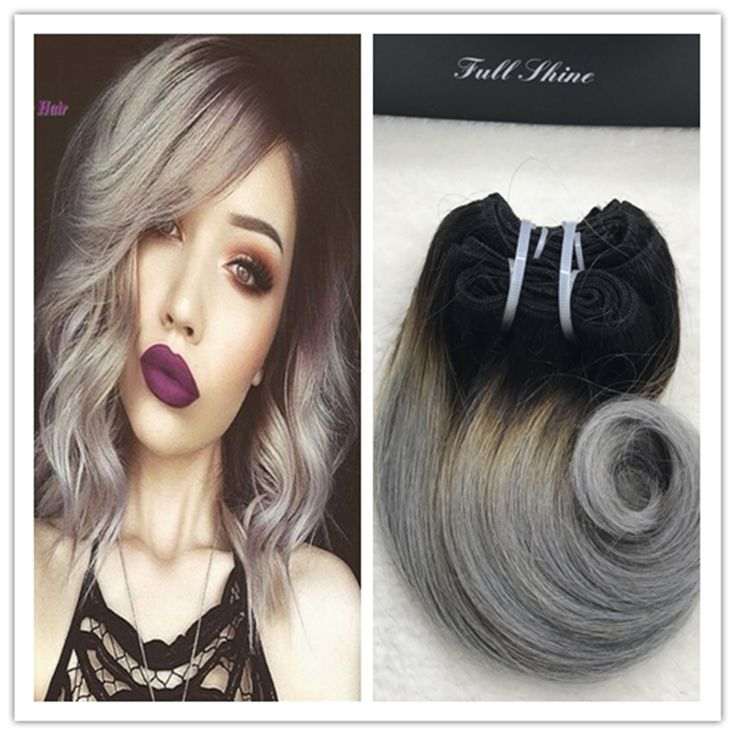 Full Shine Brazilian Short Weave Hair Extensions Remy Hair 1B Silver Grey Ombre Body Wave Short Hair Weft Ombre Cabello Humano