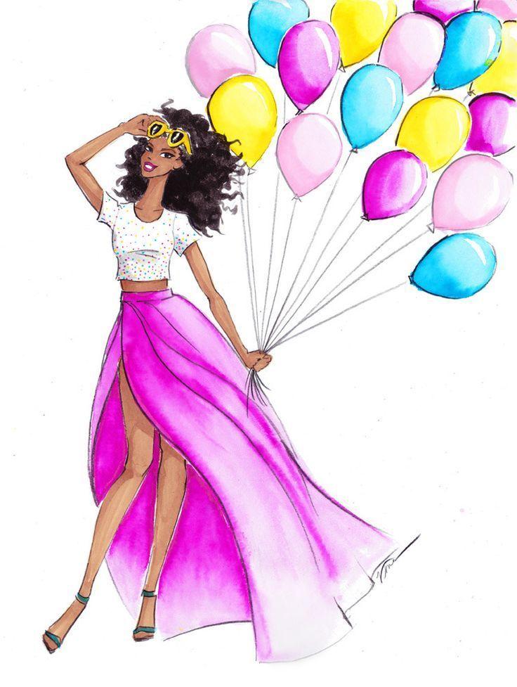 Картинки нарисованные с днем рождения женщине красивые
