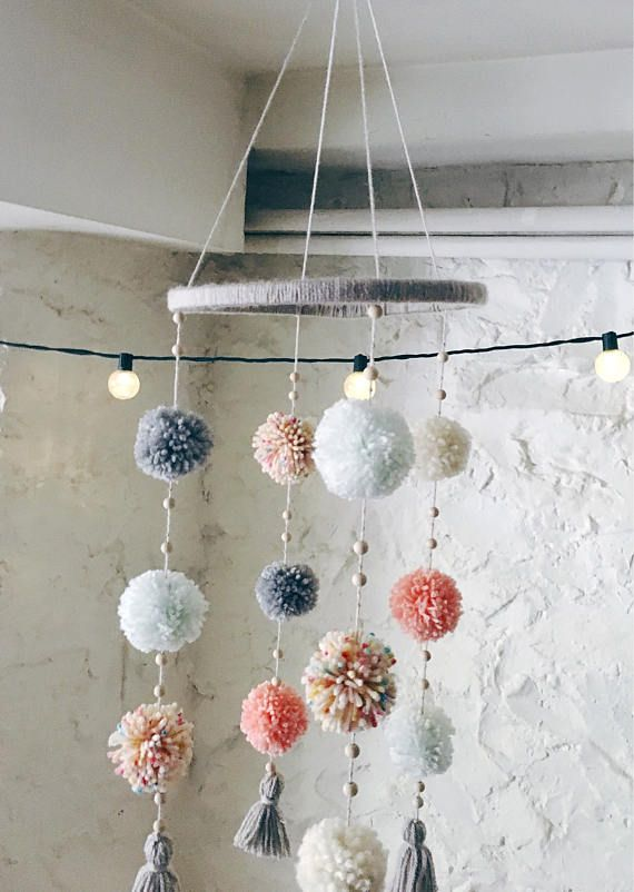 Pom Pom Mobile- Nursery Mobile- Baby Mobile- Crib Mobile- Nursery Decor – Baby Shower Gift – Boho- Baby Girl Gift- Baby Boy Gift