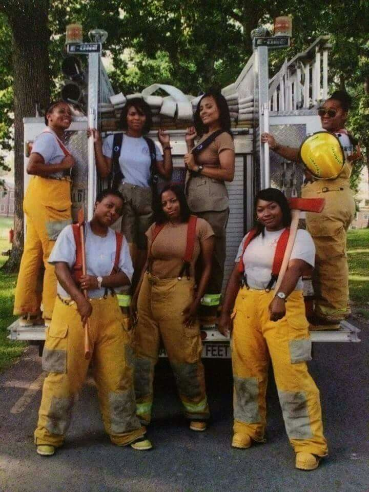 All black female firefighters unit.