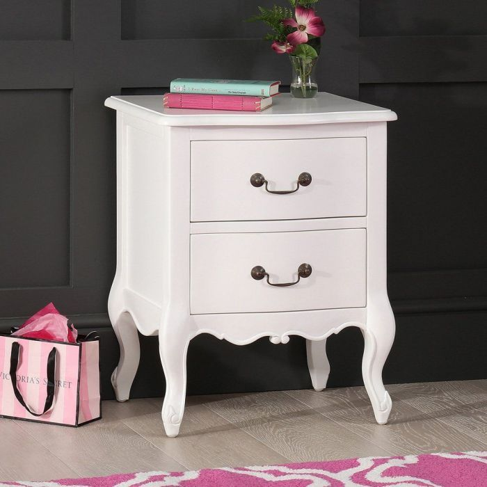 French Chateau White Painted 2 Drawer Bedside Table White Paints