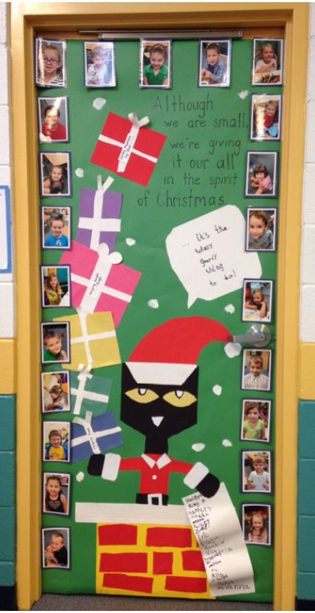 Christmas Door decorating contest 2016… A chance to teach the students that the season is not about receiving as much as about giving – we give it our all!