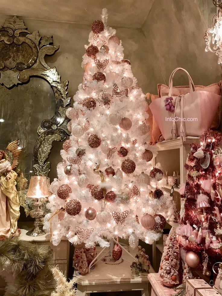 Pink Christmas tree. Pink Ornaments. Holidays. Home decor. Christmas home decor