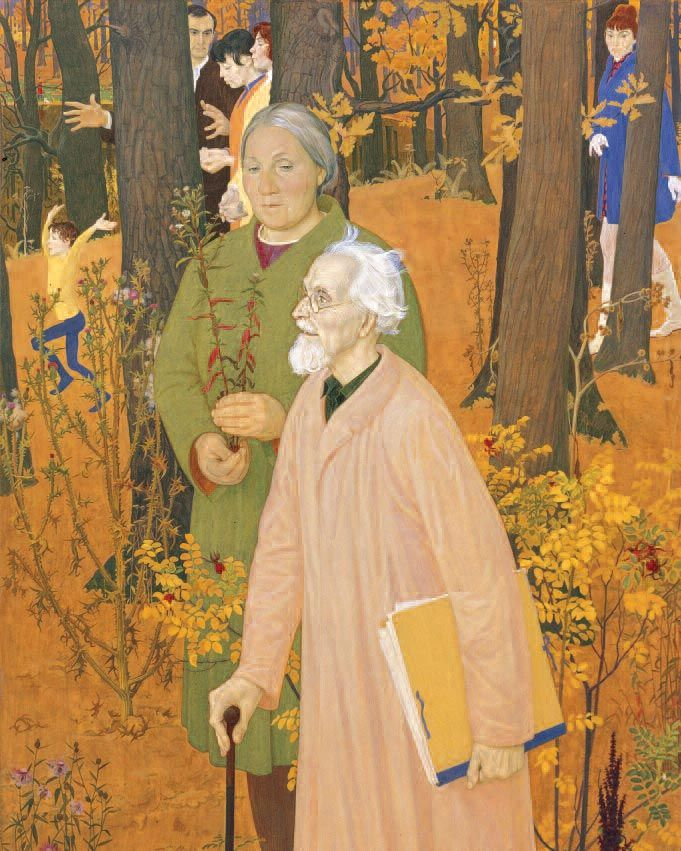 "'Chernyshev's Family', 1970 - by Dmitry Zhilinsky: ..""I imagined all the Chernyshevs walking in an autumnal forest.."" 