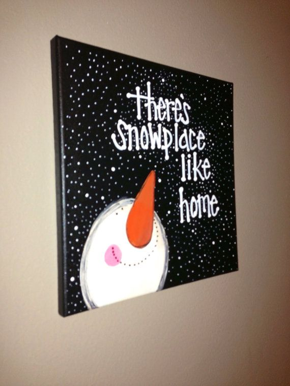 Snowman canvas by craftsbydaniellelee on Etsy...I think I could pull this off myself!