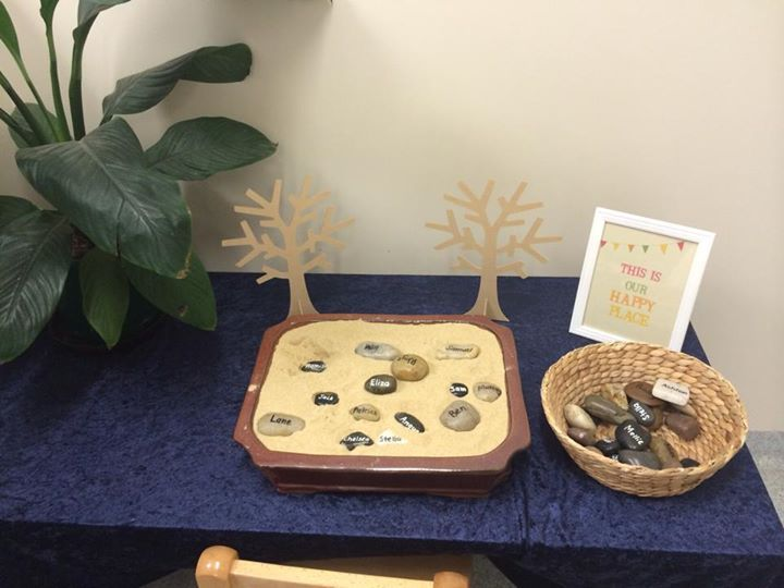 """A welcoming space for the children at Turvey Park... they find their rock & place it in the sand tray on arrival - image shared by Wagga Wagga Early Years Learning Centre ("""",)"""