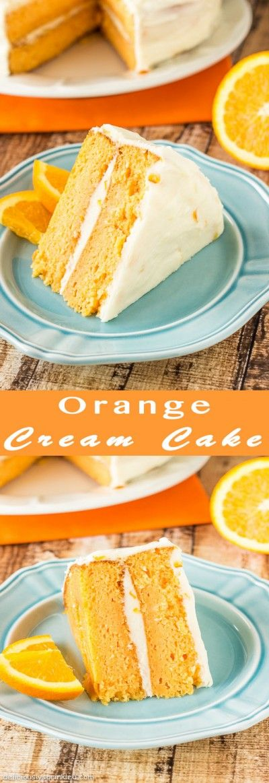 Easy Orange Cream Cake with Orange Buttercream Frosting. Perfect summer dessert recipe!