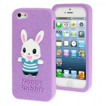 iPhone 5/5S Cases : Cute Bunny Silicon Case for iPhone 5 & 5s - Purple