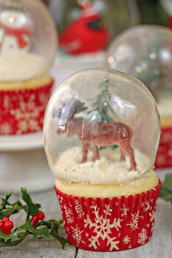 These gorgeous Snow Globe Cupcakes are topped with edible gelatin bubbles. They look amazing and so impressive! Learn how to make perfect gelatin bubbles.