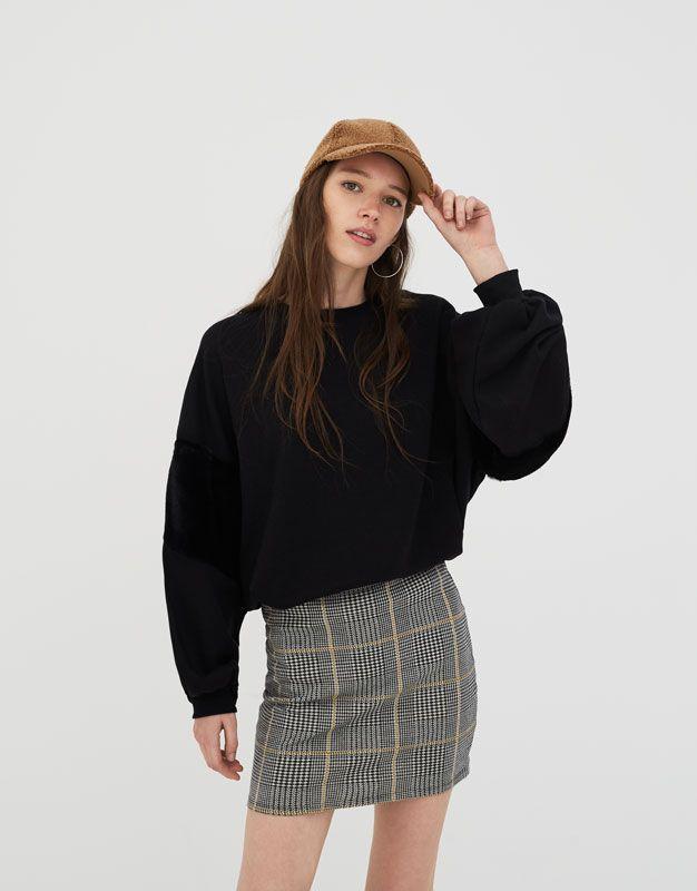 9df6bbb4bb0 Pull&Bear - mujer - ropa - faldas - minifalda cuadros - gris -  05397332-V2018