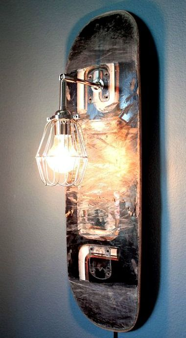 DIY Inspiration: Upcycled Skateboard Sconce (You can buy this, but it would be a simple DIY)
