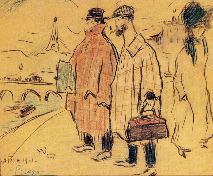 Picasso and Sebastia Junyer-Vidal arrive in Paris by Pablo Picasso - 1901 http://www.wikipaintings.org/en/pablo-picasso/pierrot-and-colombina-1900