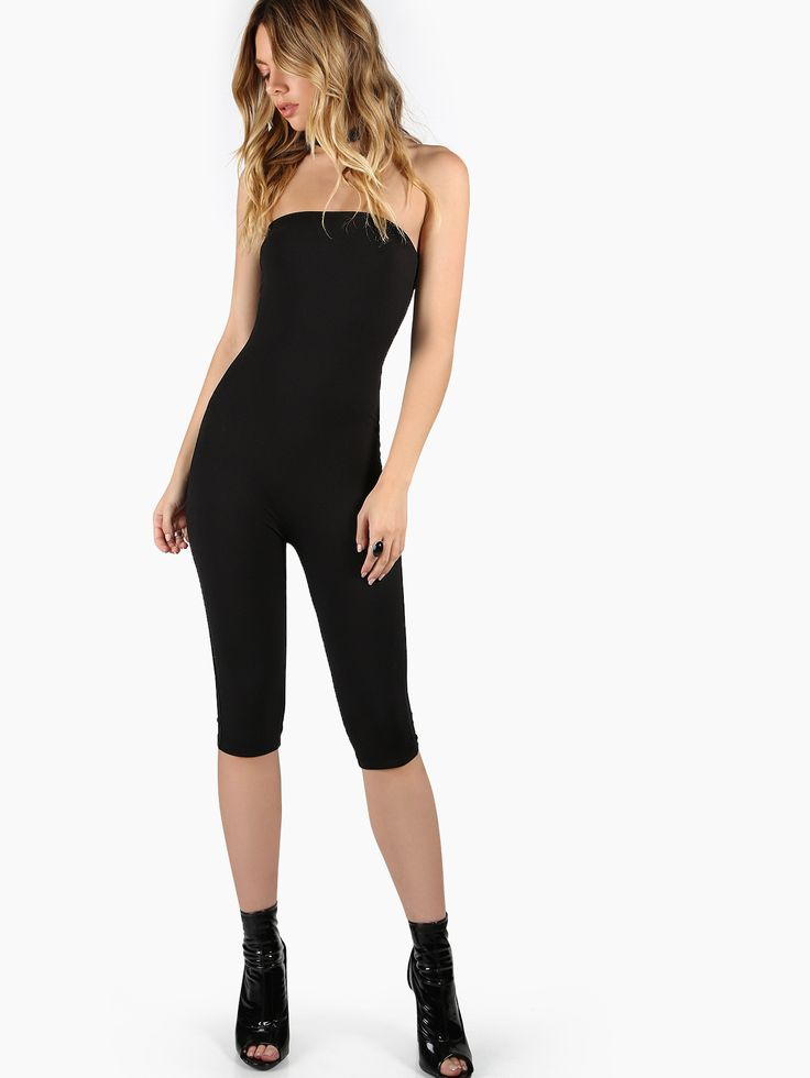 Shop Tube Top Fitted Jumpsuit BLACK online. SheIn offers Tube Top Fitted Jumpsuit BLACK & more to fit your fashionable needs.