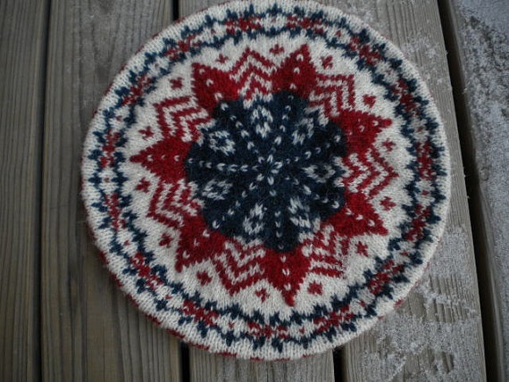 Handknit tam with Fair isle patterns by Swedmade on Etsy, $25.00