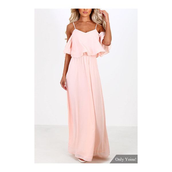 Yoins Pink Off-the-shoulder Frill Top Chiffon Maxi Dress ($23) ❤ liked on Polyvore featuring dresses