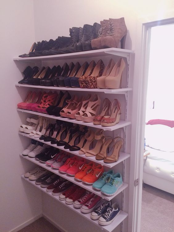 43 best diy shoe storage images on pinterest shoe rack organizers ideas how to create diy shoe closet shelves solutioingenieria Image collections