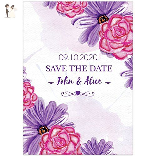 Watercolor Paper Flowers Pink Purple Save The Date Wedding Invitations - Wedding party invitations (*Amazon Partner-Link)