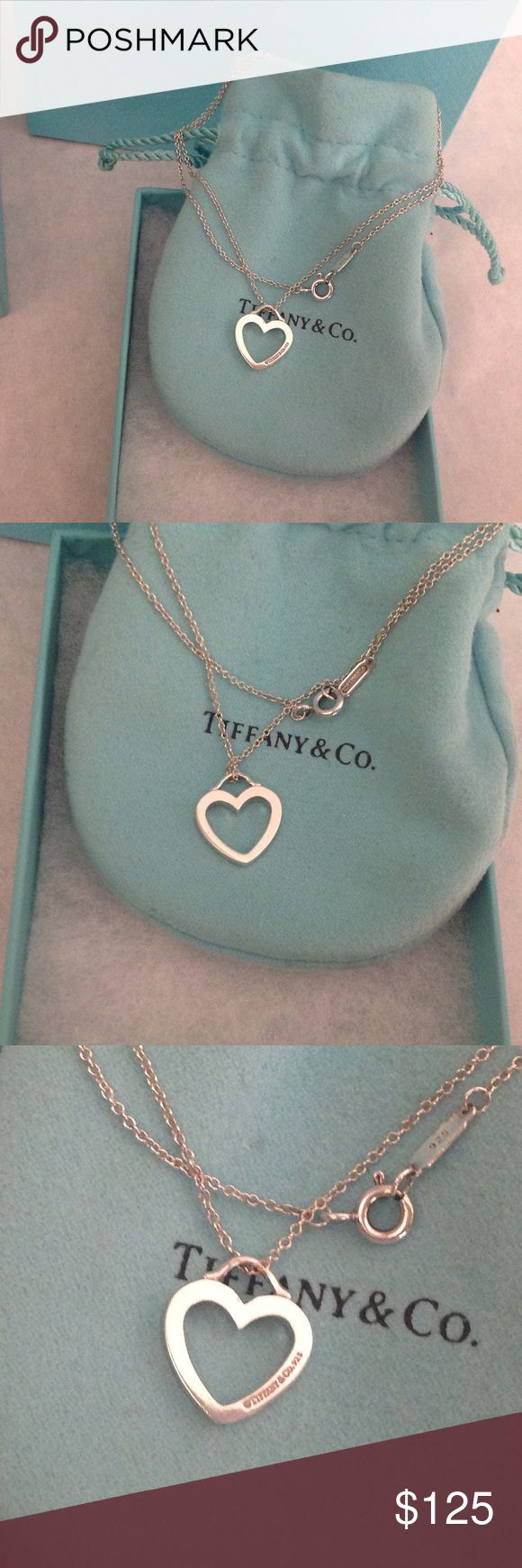 "2 HR SALE🎉Tiffany & Co. Heart Necklace Authentic sterling silver Tiffany heart on a 16"" Tiffany chain. This is in good used condition, some signs of wear as shown in pictures.  Very cute and dainty, comes with Tiffany pouch, no box. 🚫NO TRADES🚫SALE PRICE IS FIRM. Tiffany & Co. Jewelry Necklaces"