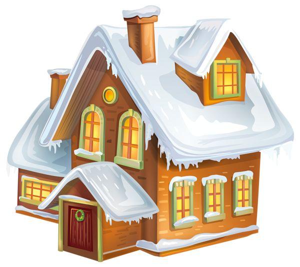 Christmas Winter House Transparent PNG Clip Art Image