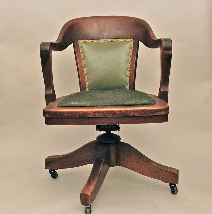 Vintage antique wooden swivel bankers or library chair for Vintage home office furniture