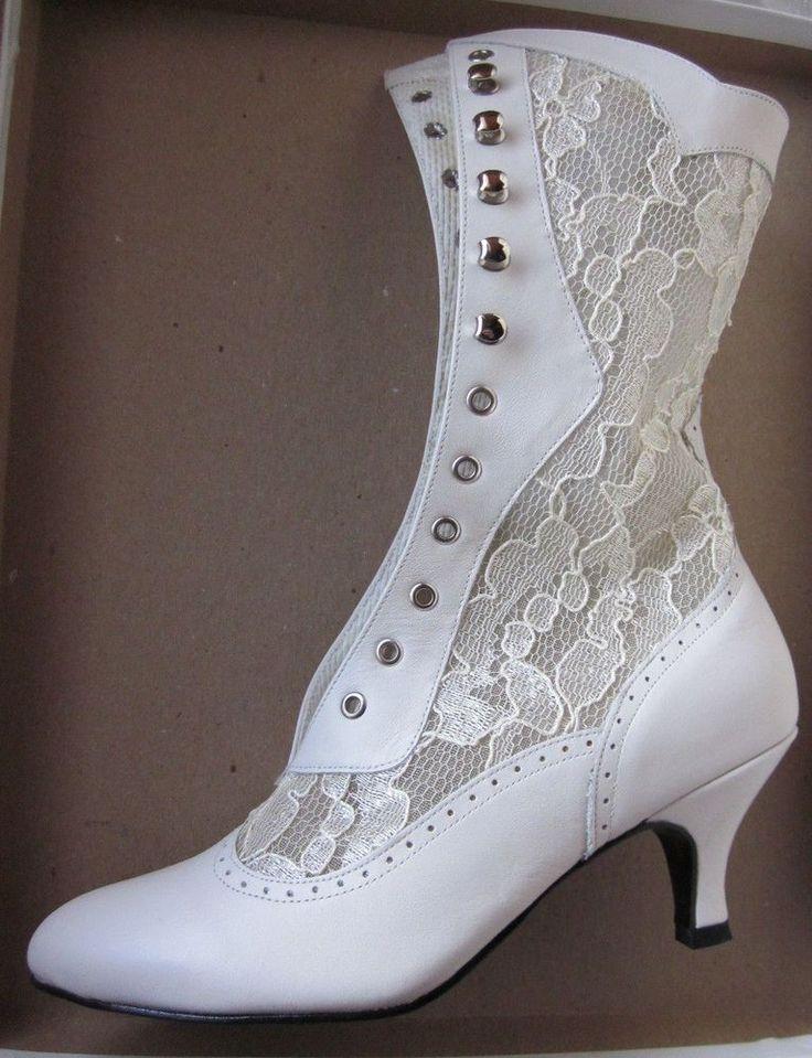nwb COAST Shoes calf leather/lace up BOOT Wedding Victorian Granny Steampunk 6.5 #CoastShoesUSA #MidCalfBoots #BridalorWedding
