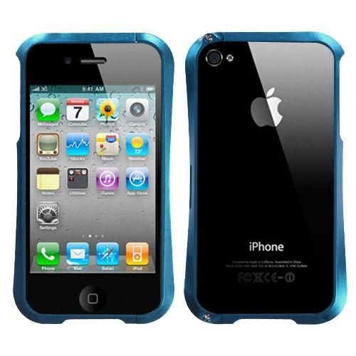Surround Shield Nitro Metal Bumper Case for iPhone 4/4S - Blue