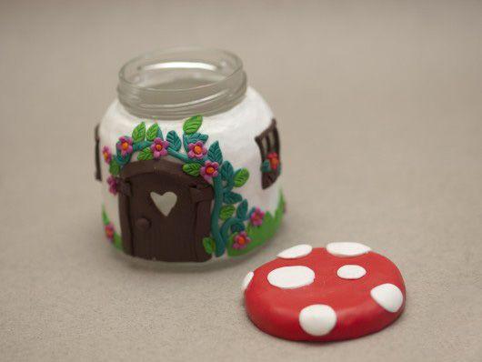 glass jar craft polymer clay candle holder cute idea mushroom house