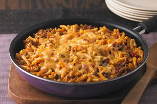 Cheesy Macaroni-Beef Skillet recipe - My My picky kids gobbled this up, then asked for MORE!  It's a keeper.  Plus, I always have everything on hand.