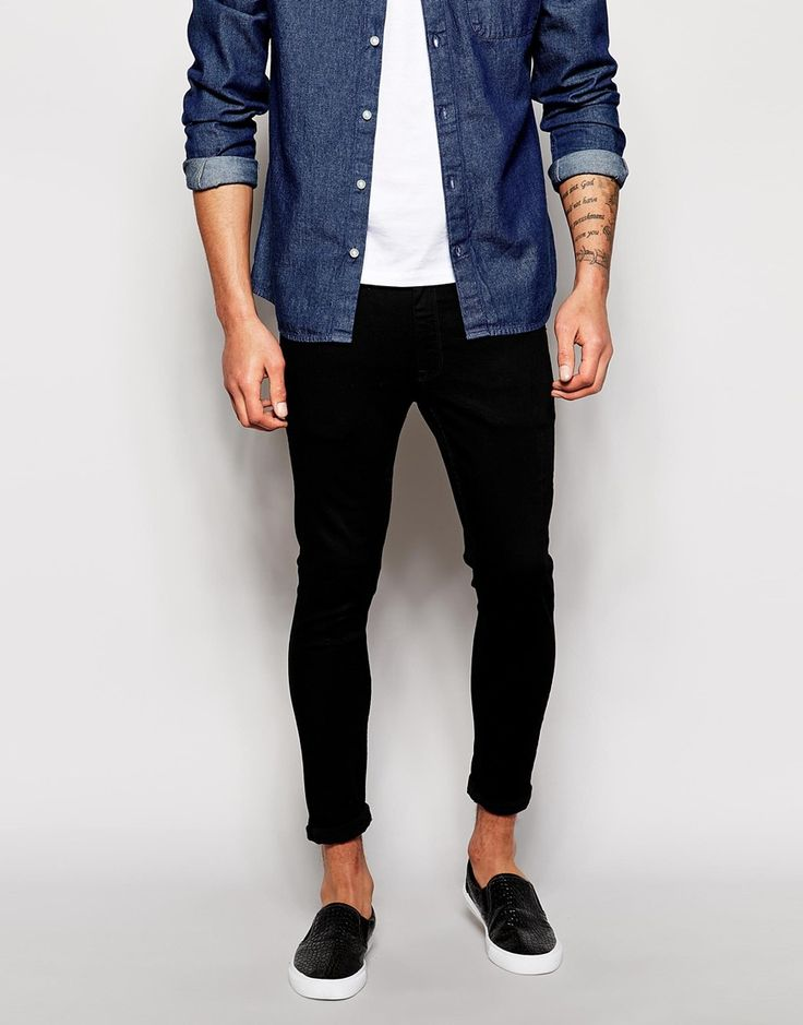 ASOS Extreme Super Skinny Jeans In Cropped Length In Black