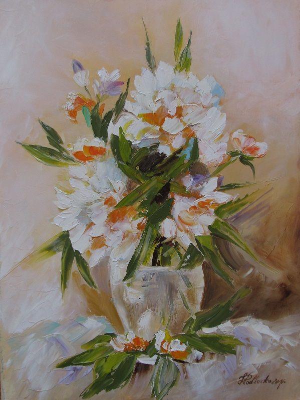 Kwiaty w wazonie. Martwa natura.