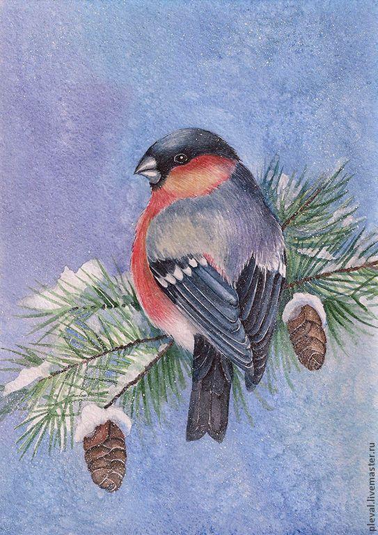"""Купить Картина акварелью """"Новогодний снегирь"""" - голубой, синий, снегирь, новогодняя открытка"""