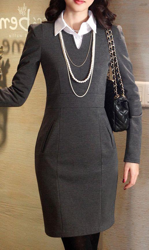 OL fashion plus size long sleeve dress Dark Grey