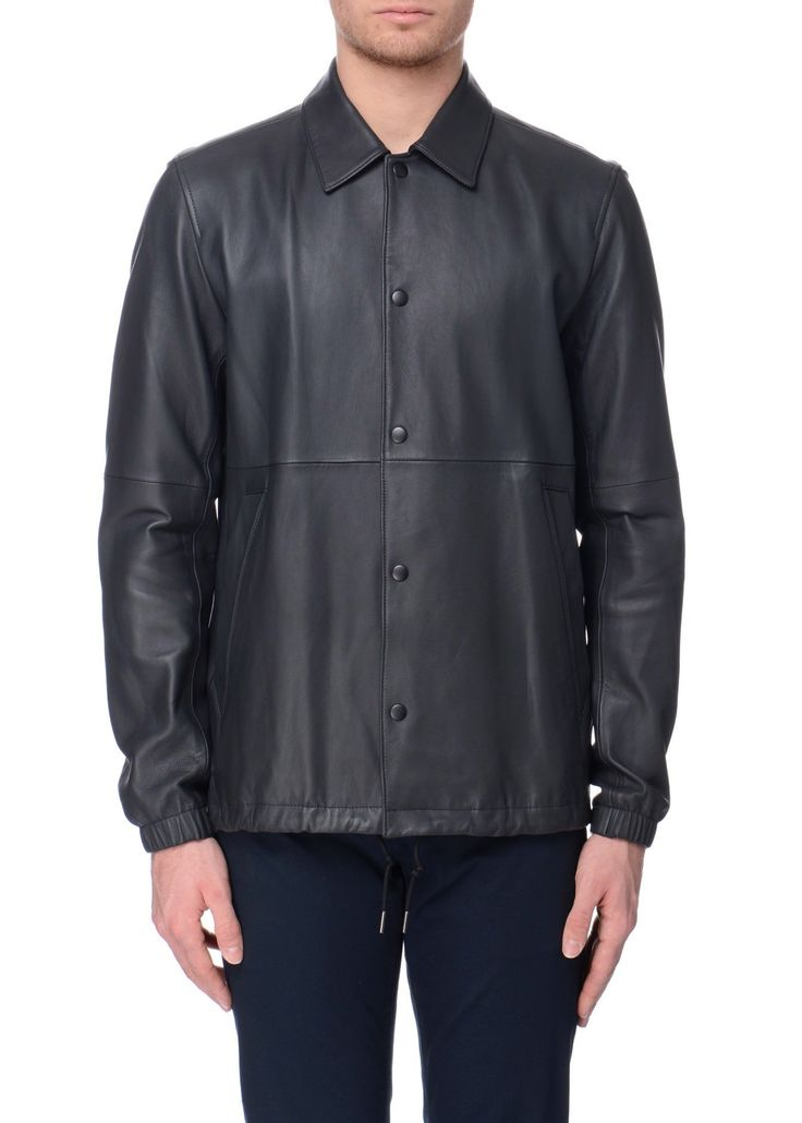 Theory - SS17 - Menswear // Black Coaches leather jacket