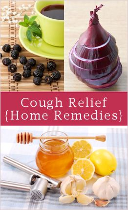 Home Remedies for Cough Relief  Here you'll find recipes/remedies using:  - Homemade Syrup (honey, lemon & glycerin)  - garlic syrup & plaster  - thyme or basil brew  - simmered onions  - ginger (mixed w honey)  - aloe vera (w honey again)  - apple cider vinegar mix (w honey again!)  - rose hip brew  -link to herbal decongestant steam blend