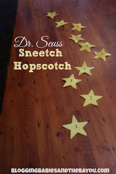Sneetch Hopscotch Play Acitovity from our  Dr. Seuss Birthday Celebration: A week long series featuring crafts, snack ideas and art that incorporates Dr Seuss The Sneetches book into educational lesson for your child, classroom or Girl Scout Troop.