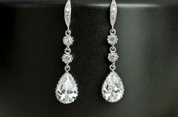 cute!!: Earwires Cubic, Wedding Jewelry, Cubic Zirconia, Teardrop Bridal, Silver Weddings, Bridal Earrings, Earrings Cubic, Zirconia Earwires