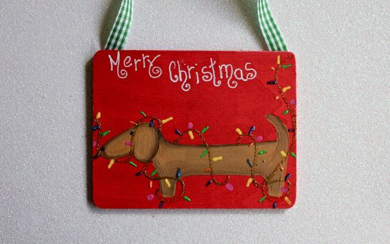 Dachshund Christmas Tree Ornament Dog Tangle in Lights Merry Chritsmas. $10.00, via Etsy.