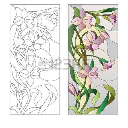 vitral: vidriera con estampado de flores púrpura Vectores