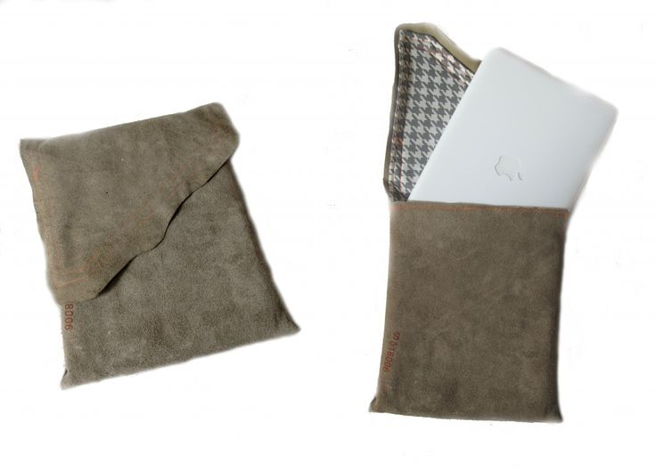 recycled leather laptop sleeve with ironing board cover lining